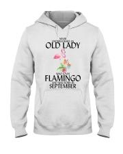Never Underestimate Old Lady Flamingo September Hooded Sweatshirt thumbnail