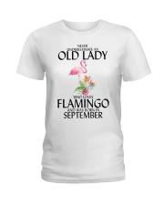 Never Underestimate Old Lady Flamingo September Ladies T-Shirt thumbnail
