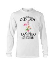 Never Underestimate Old Lady Flamingo September Long Sleeve Tee thumbnail