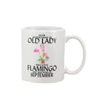 Never Underestimate Old Lady Flamingo September Mug thumbnail