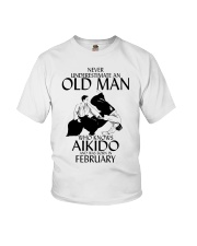 Never Underestimate Old Man Aikido February Youth T-Shirt thumbnail