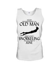 Never Underestimate Old Man Snorkeling June Unisex Tank thumbnail