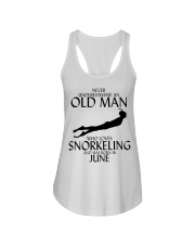 Never Underestimate Old Man Snorkeling June Ladies Flowy Tank thumbnail