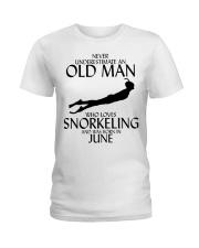 Never Underestimate Old Man Snorkeling June Ladies T-Shirt thumbnail