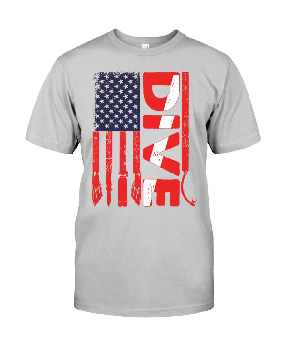Scuba Diving American Flag Classic T-Shirt