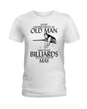 Never Underestimate Old  Man Billiards May Ladies T-Shirt thumbnail