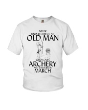 Never Underestimate Old Man Archery March  Youth T-Shirt thumbnail