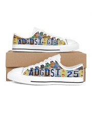 AUGUST 25 LICENSE PLATES Women's Low Top White Shoes inside-left-outside-left