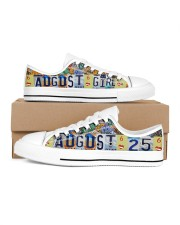 AUGUST 25 LICENSE PLATES Women's Low Top White Shoes inside-right-outside-right