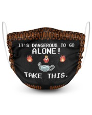 IT'S DANGEROUS TO GO ALONE 2 Layer Face Mask - Single front