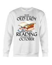 Never Underestimate Old Lady Reading October Crewneck Sweatshirt thumbnail