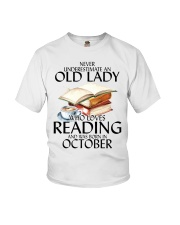 Never Underestimate Old Lady Reading October Youth T-Shirt thumbnail