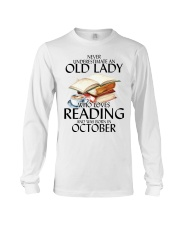 Never Underestimate Old Lady Reading October Long Sleeve Tee thumbnail
