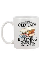 Never Underestimate Old Lady Reading October Mug back