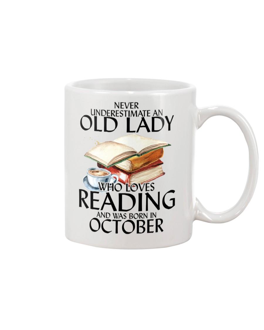 Never Underestimate Old Lady Reading October Mug