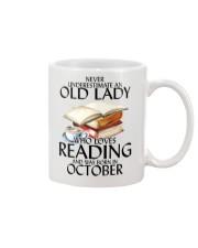 Never Underestimate Old Lady Reading October Mug front