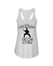 Never Underestimate Old Woman Tai Chi October  Ladies Flowy Tank thumbnail