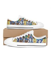 AUGUST 27 LICENSE PLATES Women's Low Top White Shoes inside-left-outside-left