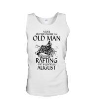Never Underestimate Old Man Loves Rafting August Unisex Tank thumbnail
