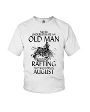 Never Underestimate Old Man Loves Rafting August Youth T-Shirt thumbnail