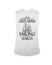 Never Underestimate Old Man Loves Sailing March Sleeveless Tee thumbnail