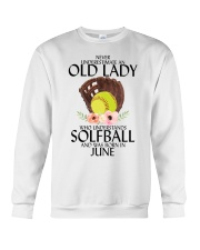 Never Underestimate Old Lady Softball June Crewneck Sweatshirt tile