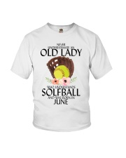 Never Underestimate Old Lady Softball June Youth T-Shirt tile