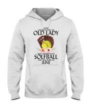 Never Underestimate Old Lady Softball June Hooded Sweatshirt tile