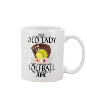 Never Underestimate Old Lady Softball June Mug thumbnail