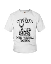 Never Underestimate Old Man Deer Hunting January Youth T-Shirt thumbnail