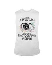 Never Underestimate Old Woman Photography January Sleeveless Tee thumbnail