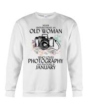 Never Underestimate Old Woman Photography January Crewneck Sweatshirt thumbnail