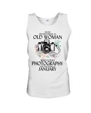 Never Underestimate Old Woman Photography January Unisex Tank thumbnail