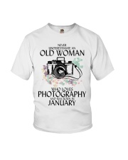 Never Underestimate Old Woman Photography January Youth T-Shirt thumbnail