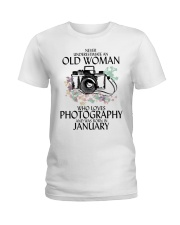 Never Underestimate Old Woman Photography January Ladies T-Shirt thumbnail