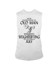 Never Underestimate Old Man Weightlifting July Sleeveless Tee thumbnail