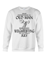 Never Underestimate Old Man Weightlifting July Crewneck Sweatshirt thumbnail