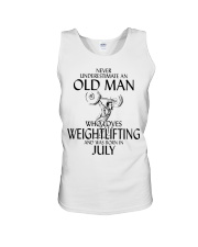 Never Underestimate Old Man Weightlifting July Unisex Tank thumbnail