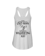 Never Underestimate Old Man Weightlifting July Ladies Flowy Tank thumbnail
