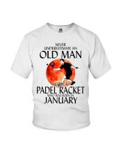 Never Underestimate Old Man Padel Racket January Youth T-Shirt thumbnail