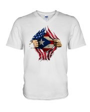NC - Puerto Ricans blood inside me V-Neck T-Shirt thumbnail