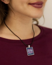 Knitter I Am Not Addictict To Knitting Cord Rectangle Necklace aos-necklace-square-cord-lifestyle-1