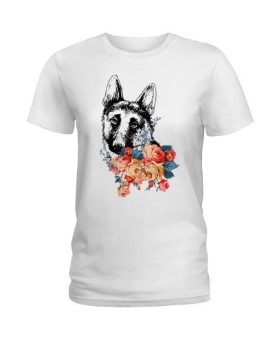 Funny Dog Shirt - German Shepherd Floral