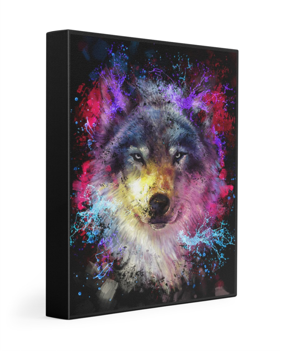 Beautiful Colorful Wolf 11x14 Gallery Wrapped Canvas Prints