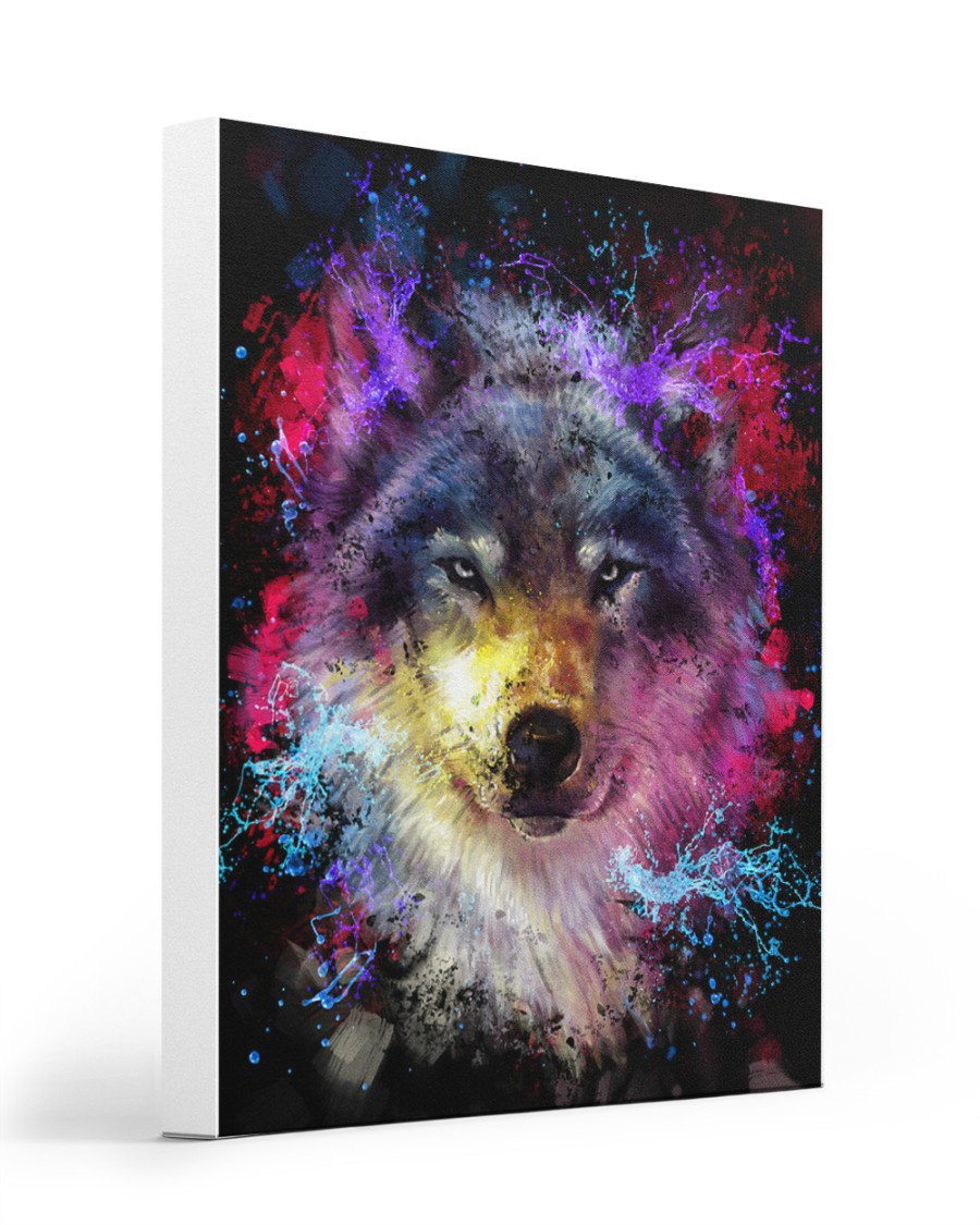 Beautiful Colorful Wolf 16x20 Gallery Wrapped Canvas Prints