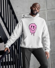 Pink Melting Smiley Face Hooded Sweatshirt apparel-hooded-sweatshirt-lifestyle-front-10