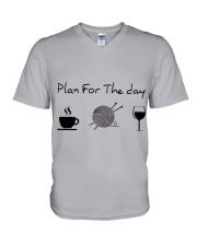 Plan For The Day Knitting V-Neck T-Shirt thumbnail