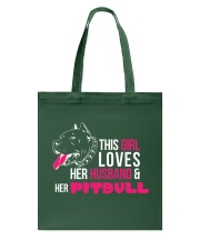 This girl loves Her Husband and Her Pitbull Tote Bag thumbnail