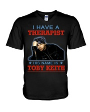 I HAVE A THERAPIST HIS NAME IS TOBY KEITH V-Neck T-Shirt tile