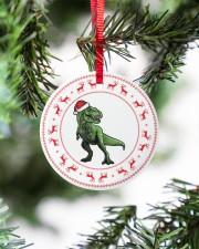 T-rex - Christmas - Circle Ornament Circle ornament - single (porcelain) aos-circle-ornament-single-porcelain-lifestyles-07